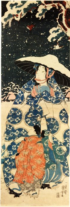Tokiwa-gozen walking through the snow sheltering her children.