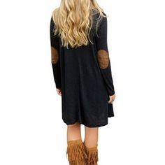 Plus Size Women Loose Suede Patchwork Black V Neck Dress