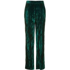 TopShop Velvet Crushed Trouser (630 SEK) ❤ liked on Polyvore featuring pants, wide leg pants, green wide leg pants, wide leg trousers, green trousers and topshop pants
