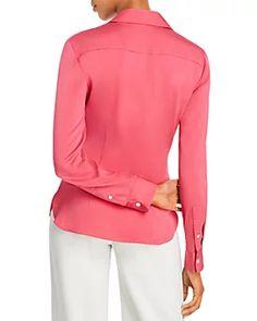 Pure Silk Knit Women/'s Couverture Col Bouton Manches Longues Haut