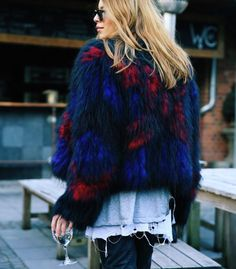 Parisienne: Multicolor faux-fur jackets