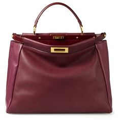 UNGER Fashion - Fendi Tote 'Peek-a-Boo' Bordeaux ($2,810) ❤ liked on Polyvore featuring bags, handbags, tote bags, borse, purses, сумки, fendi, red tote, red tote bag and fendi handbags