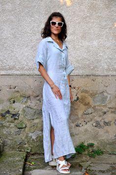 Light blue dress/Long Linen 100% dress/Maxi by Gabygaclothes