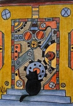 STEAMPUNK DOOR WITH CAT ACEO ON EBAY