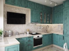 Бирюзовая кухонная мебель, телевизор на кухне
