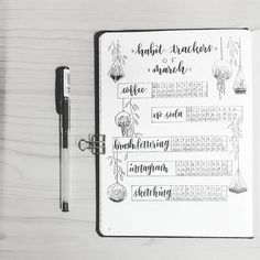 Bullet journal monthly habit tracker, hanging plants drawing | @bujowithdaya