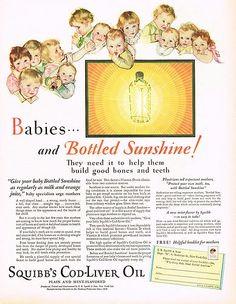 1920's BIG VINTAGE Squibb's Cod Liver Oil Squibbs Medicine Baby Art Print AD