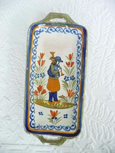 Vintage French Henriot Quimper Faience Breton Man Butter Tray Dish