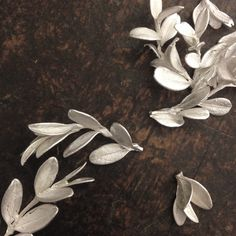 Freshly cast sterling silver leaves
