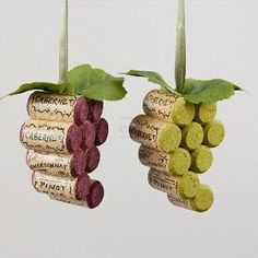 Wooden Cork Grape Bunch Christmas Tree Ornaments in Burgundy and Green by Kurt…