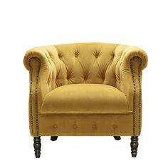 Ollena - Plush Velvet Chair - Turmeric