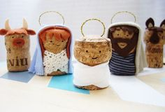 Secret santa DIY presents and gift wrapping using corks Nativity Crafts, Christmas Nativity, Christmas Art, Christmas Decorations, Xmas, Christmas Ornaments, Crafts For Kids, Diy Crafts, Wine Cork Crafts