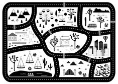 Black and White Kids Road Play Mat. Vector River, Mountains and Woods Adventure Map with Houses and Animals. Pencil Illustration, Graphic Illustration, Illustrations, Maps For Kids, Map Painting, Adventure Map, Carpet Colors, Creative Sketches, Paint Markers