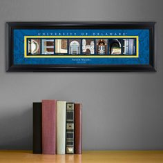 University of Delaware - College Art Personalized  Collegiate framed architecture art spells out the name of each college represented in letters created from actual campus buildings, structures and other memorable images making this a unique gift sure to bring back great college memories! Over 100 Colleges & Universities  Personalized with full name and graduation year, phrase or other.  Perfect gift for graduates, alumni, reunions...also makes a great business gift!
