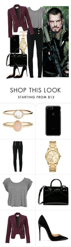 """""""How you met - Rick Flag"""" by hitshannahbananah ❤ liked on Polyvore featuring Accessorize, Balmain, Michael Kors, Rebecca Taylor and Christian Louboutin"""