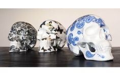 "Visual impact!   K.Olin Tribu has just announced the latest edition of its porcelain Skulls by French artist NooN. Limited to 50 numbered pieces, Cashmere Blue (7.8 x 5.1 x 5.1"") features a traditional blue deco pattern hand applied by the artist, making each Skull in the edition unique."