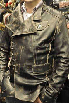 MENS STEAMPUNK MILITARY ROCK LEATHER JACKET