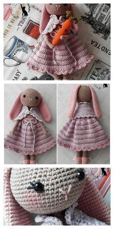 Amigurumi Bunny Free Pattern – Amigurumi Free Patterns And Tutorials Doll Amigurumi Free Pattern, Crochet Bunny Pattern, Easter Crochet Patterns, Crochet Baby Toys, Crochet Dolls, Free Crochet, Crochet Parrot, Crochet For Beginners Blanket, Slouchy Hat