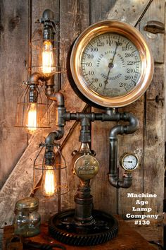 Steampunk, By Machine Age Lamps, Steam Gauge Industrial Lamp - #130 – Machine Age Lamps Company, LLC