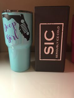 30oz. Seafoam Blue SIC Cup with State of Florida Jeep Girl Decal