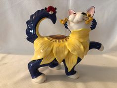 WhimsiClay Cat with Sunflower & Ladybug by Amy Lacombe | eBay