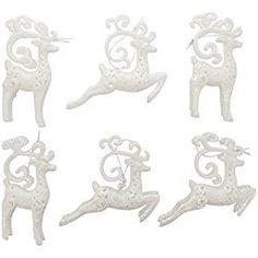 "Christmas Holiday White Glitter Elegant Reindeer Ornaments - Set of 6, 7"" x 3"" x 1"" White Christmas Ornaments, Reindeer Ornaments, Elegant Christmas, Hanging Ornaments, Christmas Holidays, Christmas Decorations, Christmas Ideas, Wings Design, White Glitter"