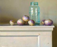 Jeffrey T. Larson  Milk Jar & Turnips Oil on Canvas 2-x24 inches 2011