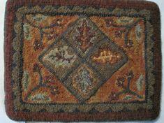 Leaves and Berries-Primitive Linen-Hooked Rug Pattern. $34.00, via Etsy.