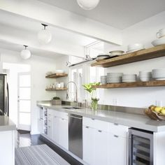 Last shot from the open shelving post. This is one of my favorites, I love how open this kitchen is with all the open shelving instead of upper cabinets. Photo via @remodelista. More images + details on how to get this look on the blog.