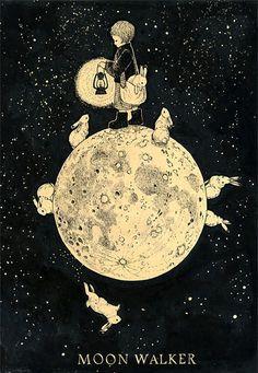 Moon Walker w/ Rabbits ~ unknown artist