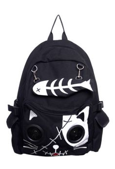 Speaker Bag by Banned KITTY Cat Animal Rucksack Backpack Emo Gothic Plug & Play | eBay