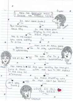"""theymightbeclippy: """" BEATLES FLOW CHART omfgitscrystall: """" How The Beatles will guide you through life :) """" """" Perfection! Beatles Tattoos, Beatles Quotes, Beatles Funny, Beatles Lyrics, Beatles Art, The Beatles, Beatles Poster, Song Lyrics Art, Just Good Friends"""