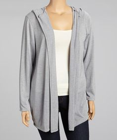 Another great find on #zulily! Heather Gray Hooded Open Cardigan - Plus by Chris & Carol #zulilyfinds