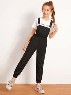 To find out about the Girls Flap Pocket Windbreaker Overall Jumpsuit at SHEIN IN, part of our latestGirls Jumpsuits ready to shop online today! Teenage Girl Outfits, Girls Fashion Clothes, Kids Outfits Girls, Cute Girl Outfits, Tween Fashion, Cute Outfits For Kids, Teen Fashion Outfits, Cute Casual Outfits, Stylish Outfits