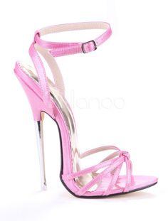 Hauteur de Talon: Sky high, needle thin, stiletto sandals in baby pink. Extreme High Heels, Very High Heels, High Heels Stilettos, High Heel Boots, Stiletto Heels, Pumps, Women's Shoes, Me Too Shoes, Blouse Corset