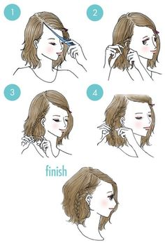 Hairstyles for school. Hairstyle for short hair Hairstyles for school. Hairstyle for short hair Summer Hairstyles, Trendy Hairstyles, Braided Hairstyles, Wedding Hairstyles, Hairstyles For Short Hair Easy, Shoulder Length Hairstyles, Japanese Hairstyles, Shoulder Length Updo, Hairstyles For Medium Length Hair Tutorial