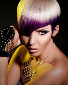 love violet and lemon hair. Goes really well with this short haircut and her face shape!