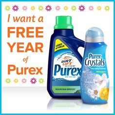 *THIS SWEEPSTAKES HAS ENDED* Who wants a FREE year of #Purex detergent and Crystals? Repin and enter at www.littletikes.com