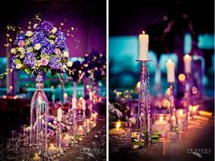 Purple whimsical centerpieces.