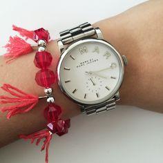 Fringe bracelet by Angélica - pink
