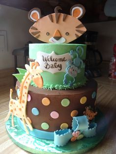A 9 inch and 6 inch cake made to match the fisher price rain forest theme Another super cute cake idea!