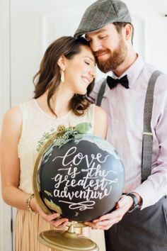 Cabinet of Curiosities Rehearsal Dinner | Hand lettering calligraphy globe | travel wedding | wanderlust | adventure