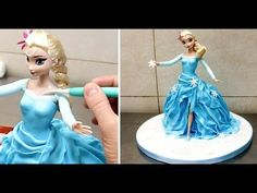 Frozen Cake - Frozen Elsa Doll Cake - How To by CakesStepbyStep. Torte Frozen, Frozen Doll Cake, Elsa Torte, Elsa Doll Cake, Frozen Dolls, Barbie Torte, Bolo Barbie, Barbie Doll, Elsa Frozen
