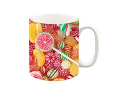 Sweets Mug A ceramic Microwave and dishwasher safe :) All our mugs are printed in our design studio in the UK. Tea Mugs, Coffee Mugs, Hot Candy, Handmade Items, Handmade Gifts, Funny Gifts, Christmas Gifts, Sweets, Ceramics