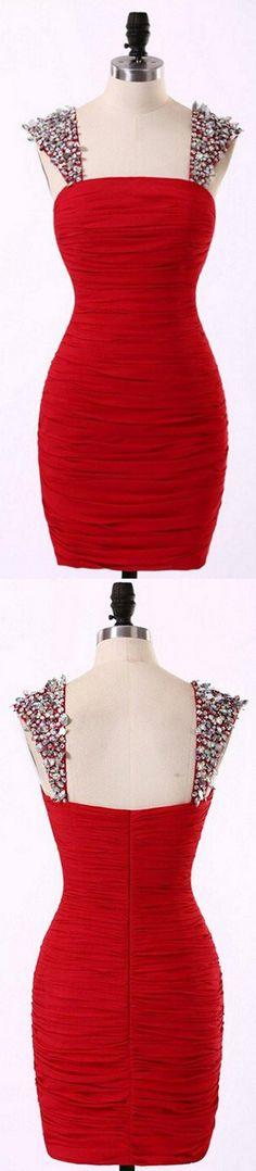 Straps Short Chiffon Red Prom Dresses Homecoming Dress ED43