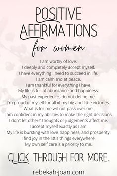 30 Daily Positive Affirmations for Self Esteem, Motivation, and Inspiration for Women
