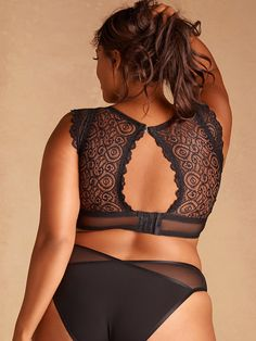 b273e26dea Plus Size Cap Sleeve   Back Keyhole Lace and Mesh Bralette