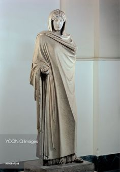 Aphrodite Sosandra, by Unknown artist, 2nd Century, white marble, full relief. Italy: Campania: Naples: National Archaeological Museum. Whole artwork. Statue goddess love Aphrodite Venus young woman mantle/cloak