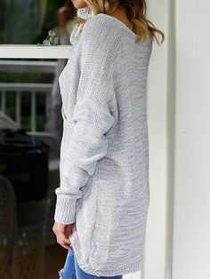 ac9769921 Gray V-neck Wrap Front Long Sleeve Knit Sweater