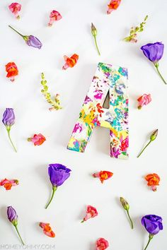 HOME | Welcome spring with a floral monogram project. #DIY